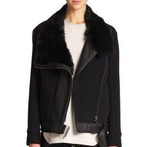 Helmut Lang Black Leather Fur Wool jacket